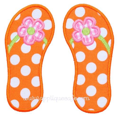 Flower Flip Flops Applique Design
