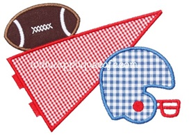 Football Pennant Applique Design