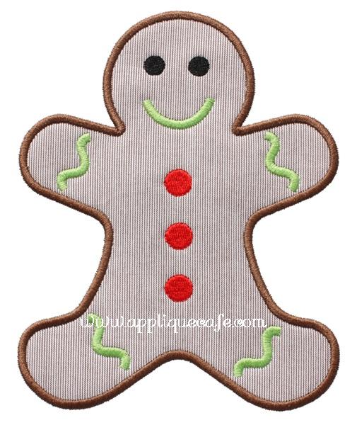 Gingerbread Man Applique Design