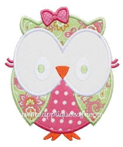 Girly Owl Applique Design