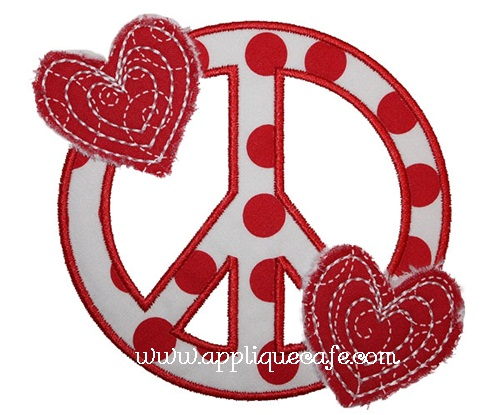 Heart Peace Sign Applique Design