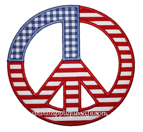 Patriotic Peace Sign Applique Design