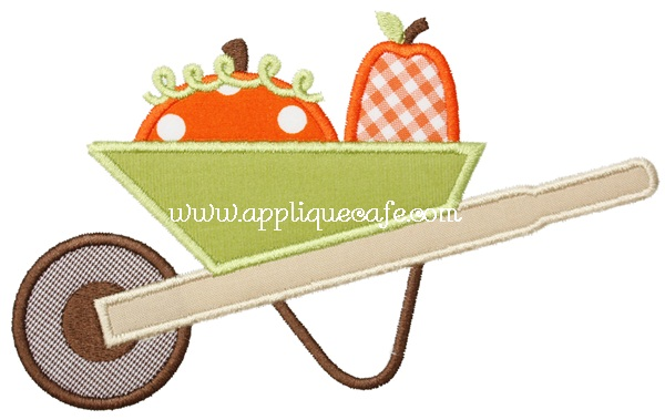 Pumpkin Wheelbarrow Applique Design