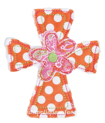 Flower Cross Applique Design