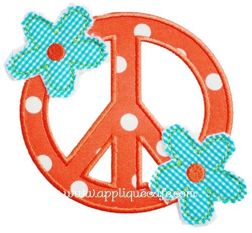 Raggy Flower Peace Sign Applique Design