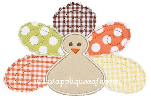Raggy Turkey Applique Design