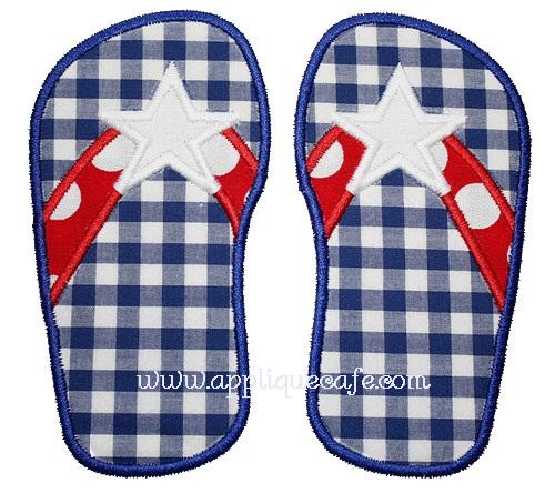 Star Flip Flops Applique Design