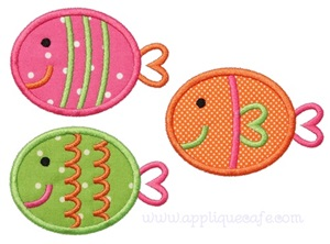 3 Fish Applique Design