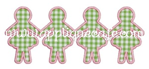 Paper Dolls 4 Applique Design