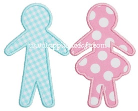 Boy Girl Paper Dolls Applique Design