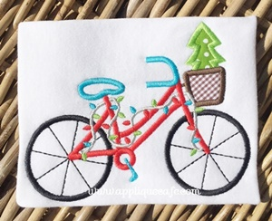 Christmas Bicycle Applique Design