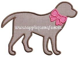 Dog with Bow Applique Design