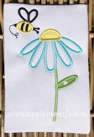 Flower Bee Applique Design