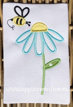 Flower Bee Applique Design