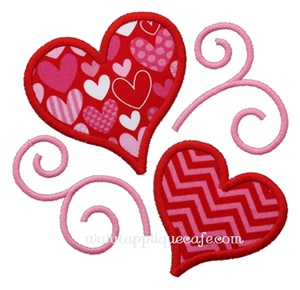 Hearts and Swirls Applique Design