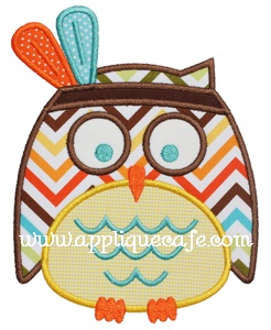 Indian Owl Applique Design