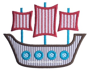 #985 Pirate Ship 3 Applique Design