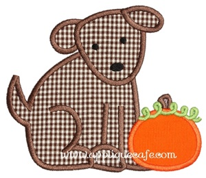 Pumpkin Puppy Applique Design