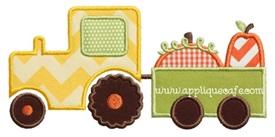 Pumpkin Tractor Applique Design