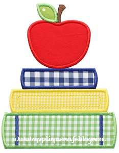 School Books Applique Design
