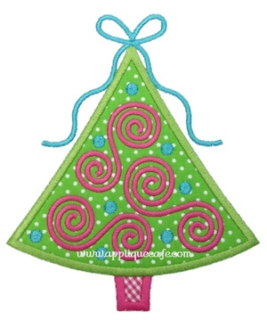 #1025 Swirly Christmas Tree 2 Applique Design