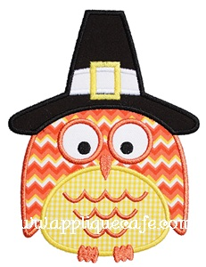 Thanksgiving Owl Applique Design