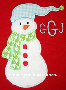 Toboggan Snowman Applique Design