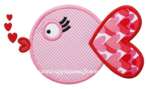 Valentine Fish Applique Design