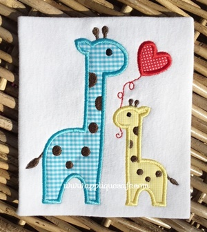 Valentine Giraffes Applique Design