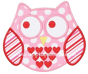 Valentine Owl Applique Design