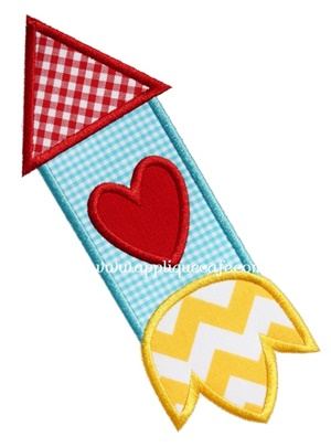 Valentine Rocket Applique Design