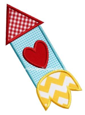 Valentine Rocket Applique Design