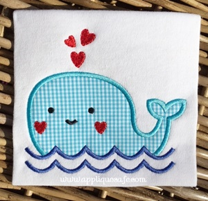 Valentine Whale Applique Design