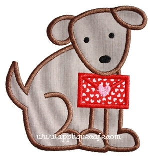 Valentine Dog 4 Applique Design