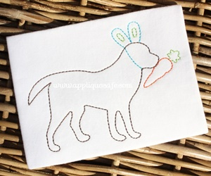 Vintage Easter Dog Embroidery Design