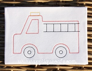 Vintage Fire Truck Embroidery Design