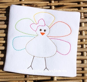 Vintage Girly Turkey Embroidery Design