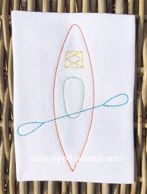 Vintage Kayak Embroidery Design