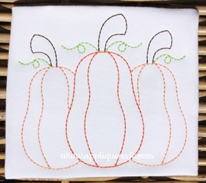 #1013 Vintage Pumpkins Embroidery Design