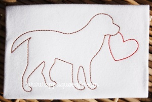 Vintage Valentine Dog Embroidery Design