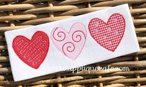 Heart Trio 3 Applique Design