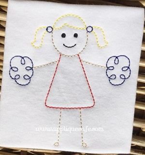 Vintage Cheerleader Embroidery Design