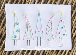 Vintage Christmas Trees Embroidery Design