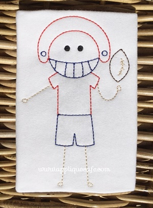 #1020 Vintage Football Player Embroidery Design