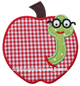 Worm Apple Applique Design
