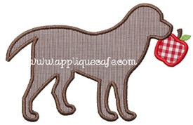 Apple Dog Applique Design