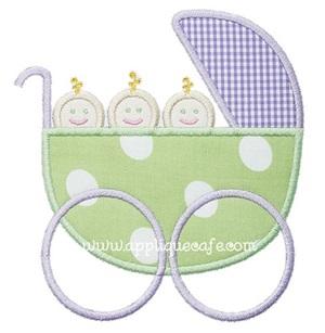 Baby Carriage Triplets Applique Design