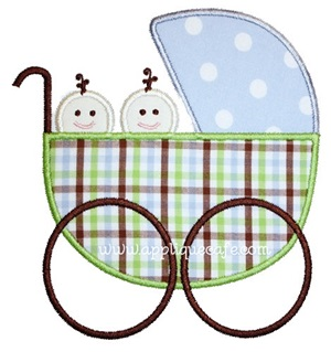 Baby Carriage Twins Applique Design