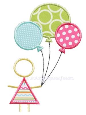 Balloon Girl Applique Design