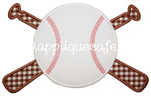 Baseball and Bats Applique Design